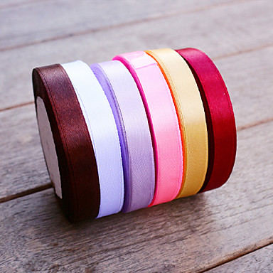w 1,2cm l 22,5m (0,5inch 25yard) farge sateng bånd beter gaver ® diy bryllup gaver emballasje materialer