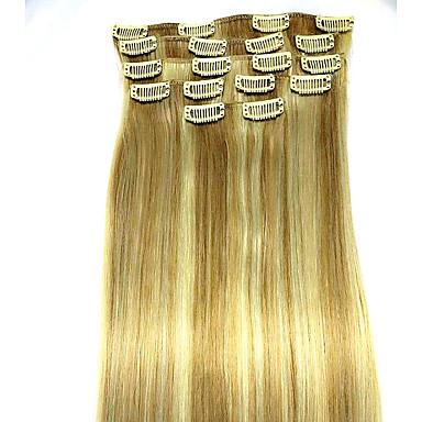 Suora Clip In Hiukset Extensions 8kpl / pakkaus Beige Blonde // Bleach Blonde 24 tuumainen