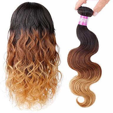 Włosy naturalne Włosy peruwiańskie Ombre Body wave Przedłużanie włosów 1 sztuka 1b / 27/4