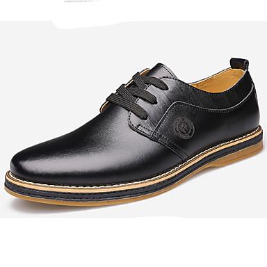 Oxford-kengät-Tasapohja-Miesten-Nahka-Musta Ruskea-Häät Ulkoilu Rento Juhlat-Comfort Uutuus