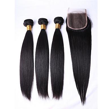 billige Parykker af ægte menneskerhår-3 Bundler Brasiliansk hår Lige 8A Menneskehår Menneskehår, Bølget Menneskehår Vævninger Menneskehår Extensions / Ret