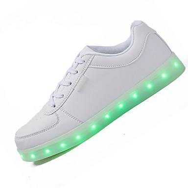 Naiset Kengät Nahka Kevät Kesä Syksy Talvi Comfort Välkkyvät kengät Lenkkitossut Tasapohja Varpaat peitetty Solmittavat LED