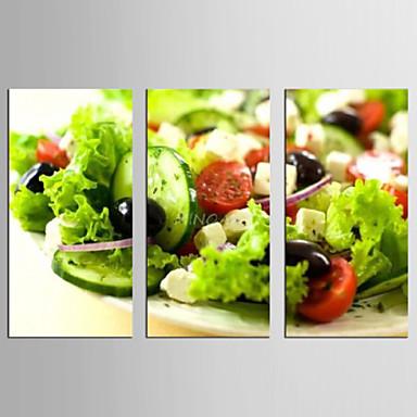 Leisure Food Moderni Realismi,3 paneeli Kanvas Pysty Painettu Wall Decor For Kodinsisustus