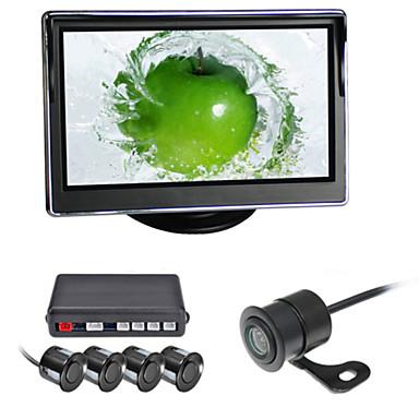 renepai® 5 tuuman 4 koetin pysäköintianturit LCD näytön kamera video auto kääntää varmuuskopiointi tutkajärjestelmän pakki summahälytys