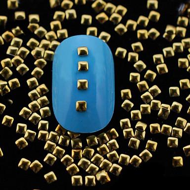 100pcs 2 χιλιοστά χρυσό τετράγωνο μεταλλικό πριτσίνια διακόσμηση καρφί τέχνης