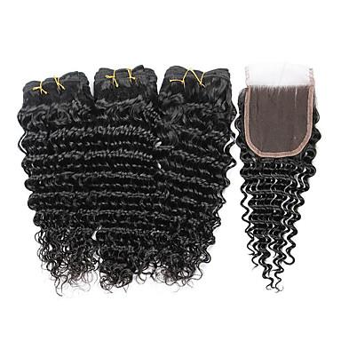 baratos Extensões de Cabelo Natural-3 pacotes com fechamento Cabelo Indiano Onda Profunda 10A Cabelo Virgem Cabelo Humano Ondulado Tramas de cabelo humano Extensões de cabelo humano