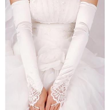 Эластичный сатин До локтя Перчатка Свадебные перчатки With С жемчугом Пайетки