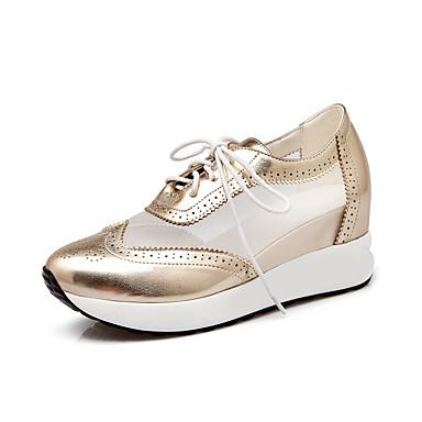 للمرأة أحذية جلد ربيع / صيف / خريف أحذية رياضية المشي منصة أمام الحذاء على شكل دائري دانتيل فضي / أزرق / زهري