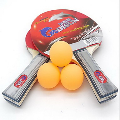 卓球ラケット Ping Pang ウッド ロングハンドル にきび 2 ラケット 3 ピンポン球 屋内-#
