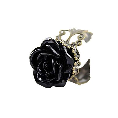 Damen Acryl / Aleación Rosen / Blume Statement-Ring - Einstellbar / Ohne Verschluss Schwarz Ring Für Alltag