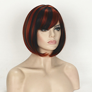 Naisten Synteettiset peruukit Suojuksettomat Lyhyt Suora Musta/Punainen Bob-leikkaus Luonnollinen peruukki Halloween Peruukki Carnival