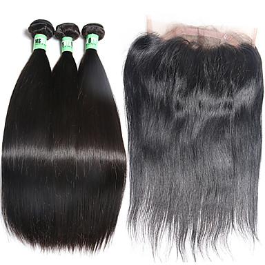 Cabelo Malaio Liso Cabelo Humano Trama do cabelo com Encerramento Tramas de cabelo humano Extensões de cabelo humano