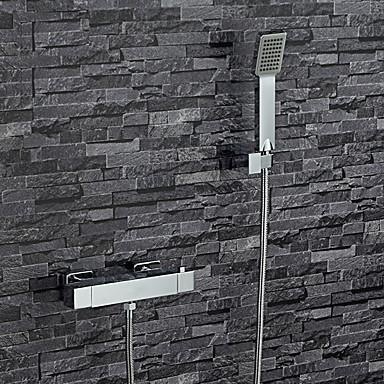 Nykyaikainen Amme ja suihku Laajallle ulottuva Termostaatti Messinkiventtiili Kaksi reikää Kaksi kahvaa kaksi reikää Kromi , Ammehana