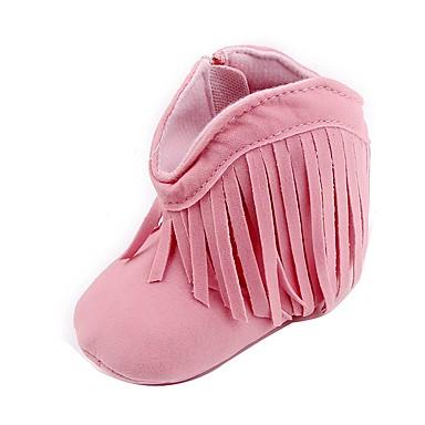 女の子 靴 レザーレット 春 秋 前かがみのブーツ ファッションブーツ コンフォートシューズ ブーツ ウォーキング タッセル のために カジュアル アウトドア ベージュ Brown レッド ピンク