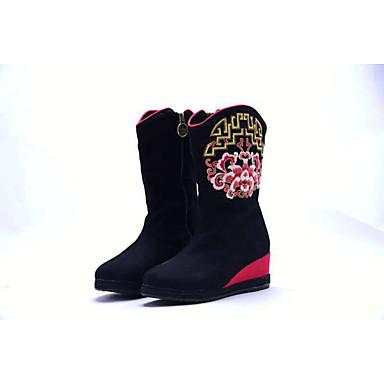 Damen Stiefel Fersenriemen Modische Stiefel Bestickte Schuhe Leinwand Frühling Herbst Winter Normal Kleid WalkingFersenriemen Modische