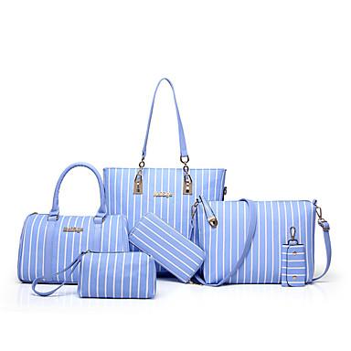 Damen Taschen PU Bag Set 6 Stück Geldbörse Set für Normal Ganzjährig Schwarz Rosa Hellblau Hellgrau