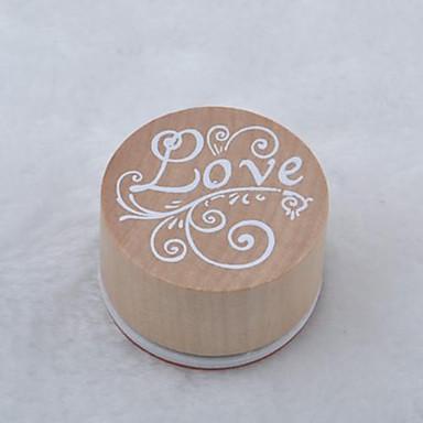 epocă floral cuvânt model rotund stampila de lemn (dragoste)