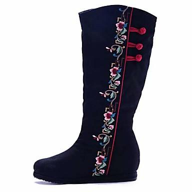 Damen Stiefel Komfort Modische Stiefel Bestickte Schuhe Leinwand Frühling Herbst Winter Normal Kleid WalkingKomfort Modische Stiefel