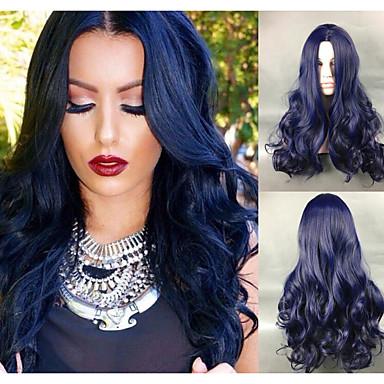 Pelucas sintéticas Ondulado Grande Pelo sintético Azul Peluca Mujer Sin Tapa