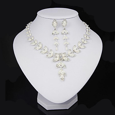 Mulheres Conjunto de jóias - Pérola, Cristal, Imitação de Pérola Formato de Folha Incluir Branco Para Festa Diário
