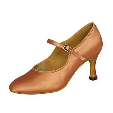 Mulheres Sapatos de Dança Latina / Sapatos de Jazz / Sapatos de Dança Moderna Cetim Sandália / Salto Presilha / Fru-Fru Salto / Interior