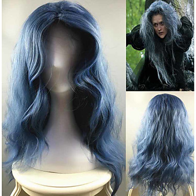 Perucas sintéticas / Perucas de Fantasia Onda de Água Cabelo Sintético Repartida ao Meio Azul Peruca Mulheres Longo Sem Touca Azul