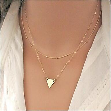 Women's Triangle Geometric Fashion Double-layer Statement Necklace Alloy Statement Necklace , Party Daily Casual