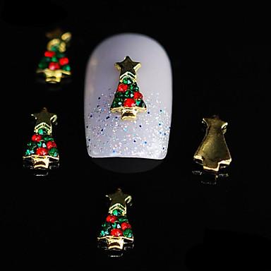 10st schoonheid kerstboom 3d legering strass nagel diy nail art decoratie