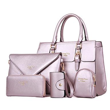 女性 バッグ オールシーズン ポリウレタン バッグセット 5個の財布セット のために カジュアル ホワイト ブラック フクシャ ブルー ピンク
