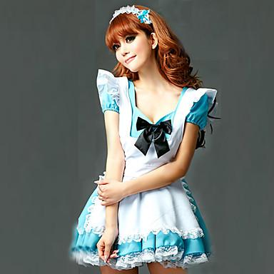 Dienstmädchenuniform Karriere Kostüme Cosplay Kostüme Party Kostüme Damen Hausmädchenuniform Halloween Karneval Fest / Feiertage Austattungen Weiß + blau Patchwork