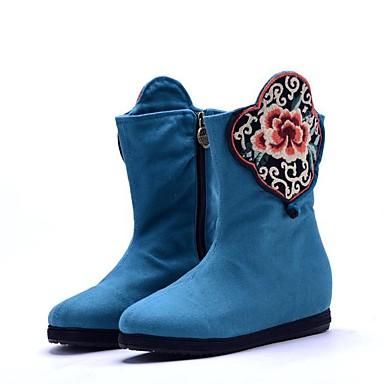 Damen Stiefel Komfort Modische Stiefel Bestickte Schuhe Leinwand Frühling Winter Normal Kleid WalkingKomfort Modische Stiefel Bestickte