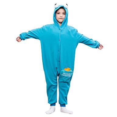 KIGURUMI Yöpuvut Piirretty Trikoot/Kokopuku Festivaali/loma Animal Sleepwear Halloween Sininen Yhtenäinen Polar Fleece varten Lapset