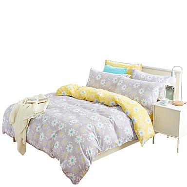 Bettbezug-Sets Blumen 4 Stück Baumwolle Reaktivdruck Baumwolle 4-teilig (1 Bettbezug, 1 Bettlaken, 2 Kissenbezüge)