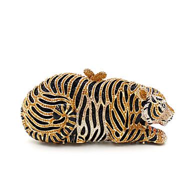 baratos Super Ofertas-Mulheres Cristal / Strass Metal Bolsa de Festa Rhinestone Crystal Evening Bags Animal Café / Preto / Branco / Dourado