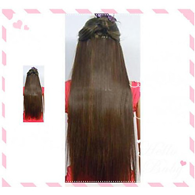 Hot Selling Clips Farve Farverige Brown Bar Engros Hair Extension Girl Beautiful 24 Inch