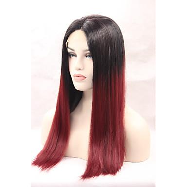 Syntetisk blonder foran parykker Rett Nyanse Syntetisk hår Naturlig hårlinje Nyanse Parykk Dame Blonde Forside Svart / Rødbrun