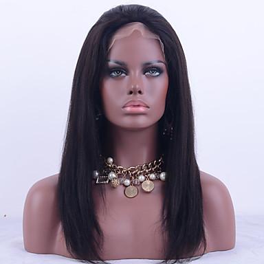 Damen Echthaar Perücken mit Spitze Echthaar Vollspitze 130% Dichte Glatt Yaki-Stil Perücke Schwarz Kurz Mittel Lang Natürlicher