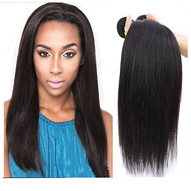 Φυσικά μαλλιά Βραζιλιάνικη Υφάνσεις ανθρώπινα μαλλιών Ίσια Προσθετική μαλλιών 3 Κομμάτια Μαύρο