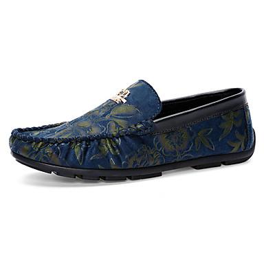 男性用 靴 繊維 春 秋 コンフォートシューズ 前かがみのブーツ ローファー&スリップアドオン フリル のために スポーツ オレンジ レッド ブルー