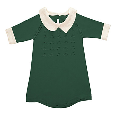 Χαμηλού Κόστους Φορέματα για κορίτσια-Κοριτσίστικα Λουλουδάτο Κινούμενα σχέδια Εξόδου Καθημερινά Μονόχρωμο Συνδυασμός Χρωμάτων Ζακάρ 3/4 Μήκος Μανικιού Βαμβάκι Φόρεμα Πράσινο