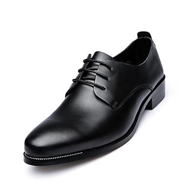 Miehet kengät Nahka Kevät Kesä Syksy Talvi Comfort Oxford-kengät Kävely Solmittavat Käyttötarkoitus Häät Juhlat Musta