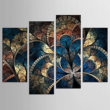 تجريدي الأزهار/النباتية كلاسيكي الطراز الأوروبي, أربع لوحات كنفا أي شكل الطباعة جدار ديكور تصميم ديكور المنزل