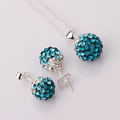 Mulheres Zircônia Cubica Conjunto de jóias - Zircônia Cubica, Prata Chapeada, Imitações de Diamante Incluir Azul Escuro / Azul Claro Para Festa Diário
