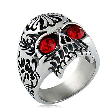 Herrn Ring Statement-Ring Synthetischer Diamant Schwarz Rot Zirkon Titanstahl Modisch Alltag Normal Modeschmuck