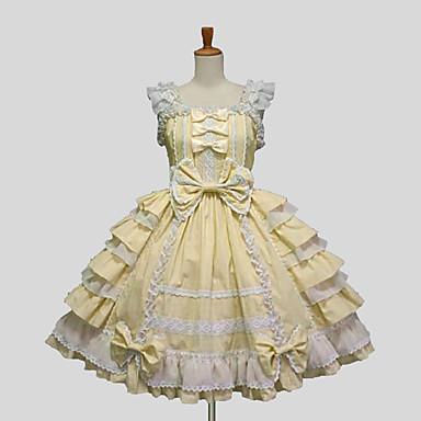 Princesa Doce Vestido plissado Renda Mulheres Saia de Saltador Cosplay Roxo / Amarelo / Azul Sem Manga Até os Joelhos Trajes da Noite das Bruxas