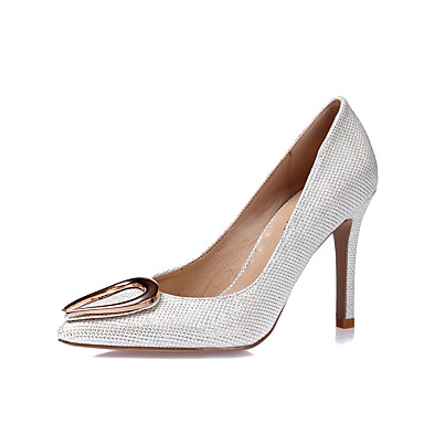 Women's Shoes Glitter / Leatherette Spring / Summer Heels Stiletto Closed Heel Pointed Toe / Closed Stiletto Toe White / Black / Silver / Wedding a3d135