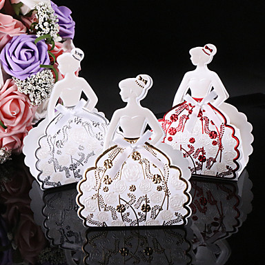 cheap Wedding Favors-Round / Square Card Paper Favor Holder with Ribbons / Printing Favor Boxes - 25