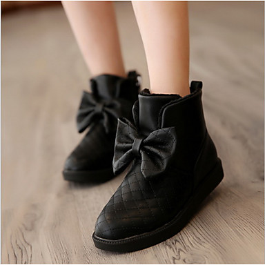 Mädchen Schuhe PU Winter Modische Stiefel Stiefel Schleife Für Normal Weiß Schwarz Fuchsia Rot
