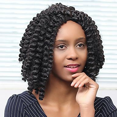 Synteettiset peruukit Kihara Afro Tiheys Suojuksettomat Naisten Musta Luonnollinen peruukki Synteettiset hiukset