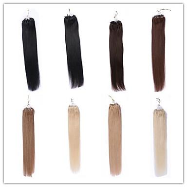 16-26 Mikroringhaarverlängerung weich und glatt Top-Qualität nicht verarbeitete brasilianisches reines Haar 100% Menschenhaar Art und